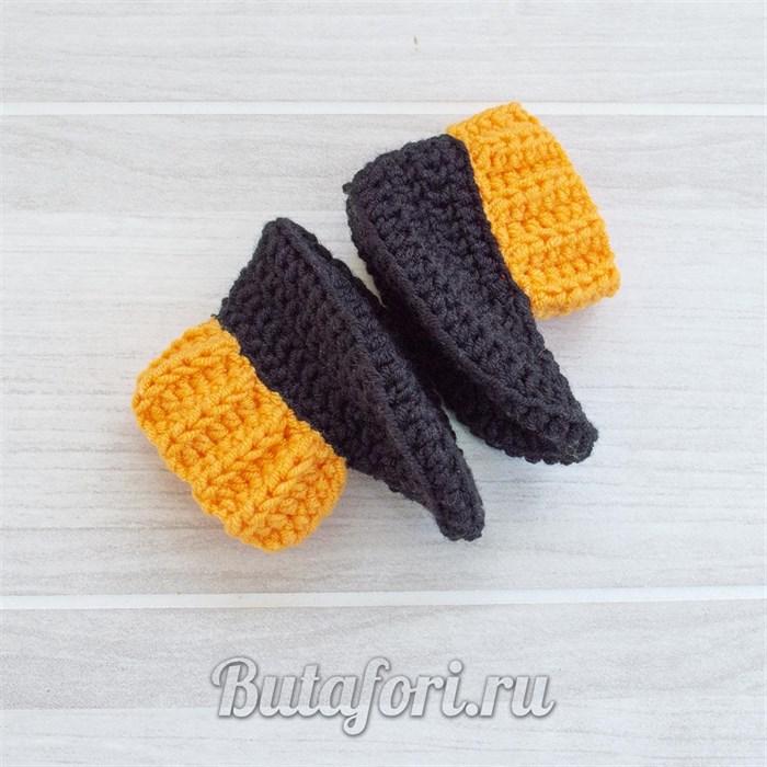 Черно-оранжевые пинетки