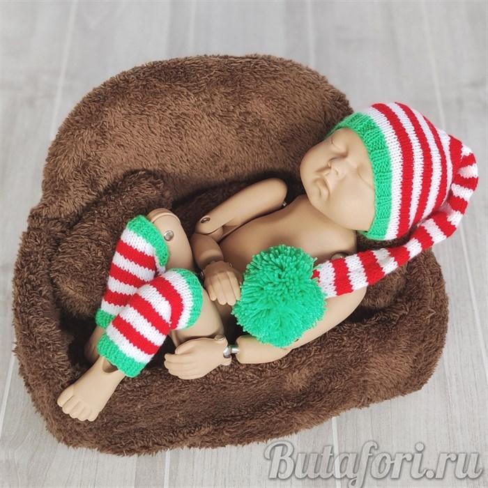 Вязаные колпак и гетры для фотосессии новорожденного