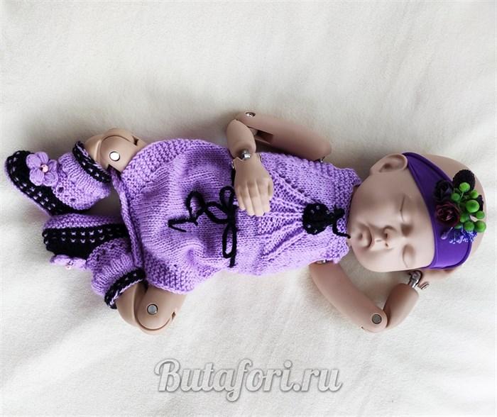 Вязаный костюмчик для фотосессии новорожденной девочки