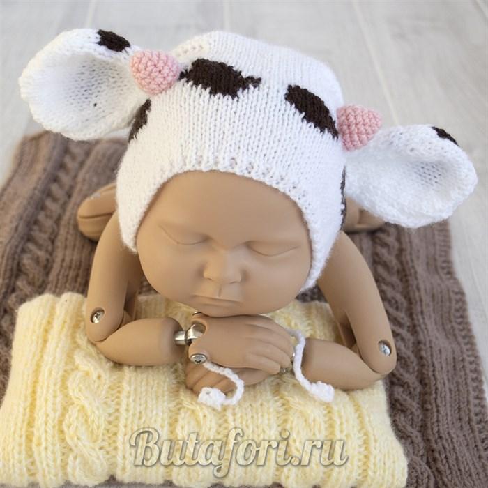Вязаная шапочка Коровка для фотосессии новорожденного