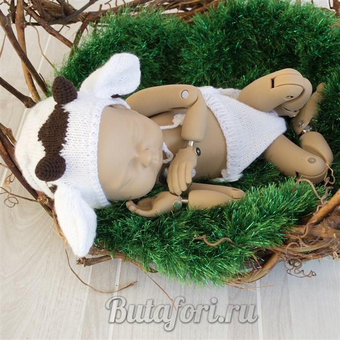 Вязаный костюмчик для фотосессии новорожденных Белый Бычок