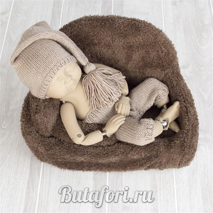 Бежевые штанишки и колпачок для фотосессии новорожденного