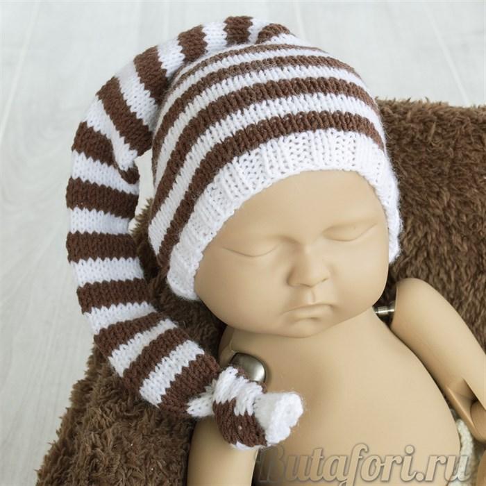 Коричнево-белый колпак для новорожденных