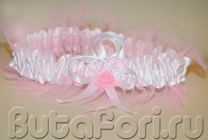 Свадебная подвязка из фатина и ленты