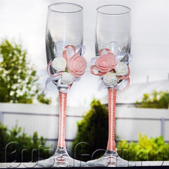 бокалы для молодых персиковые