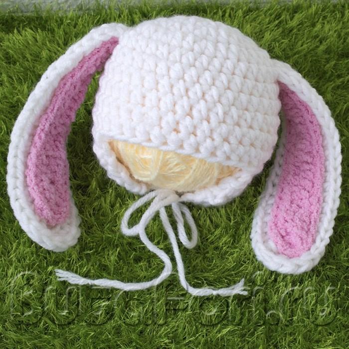 Вязаная шапочка зайчика для фотосессии новорожденного