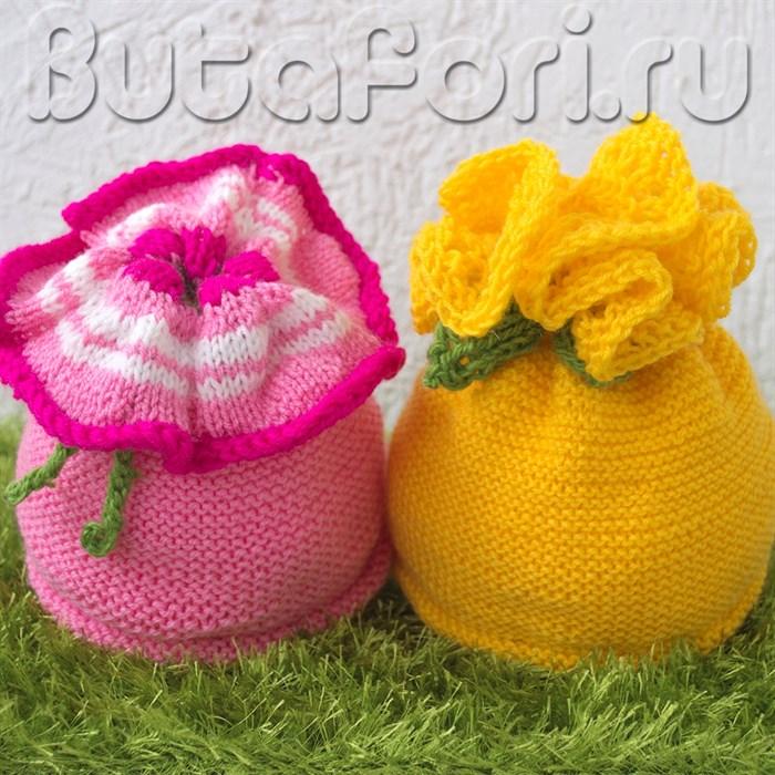 """Вязаные шапочки для фотосессии новорожденных """"Петуния и Одуванчик"""""""