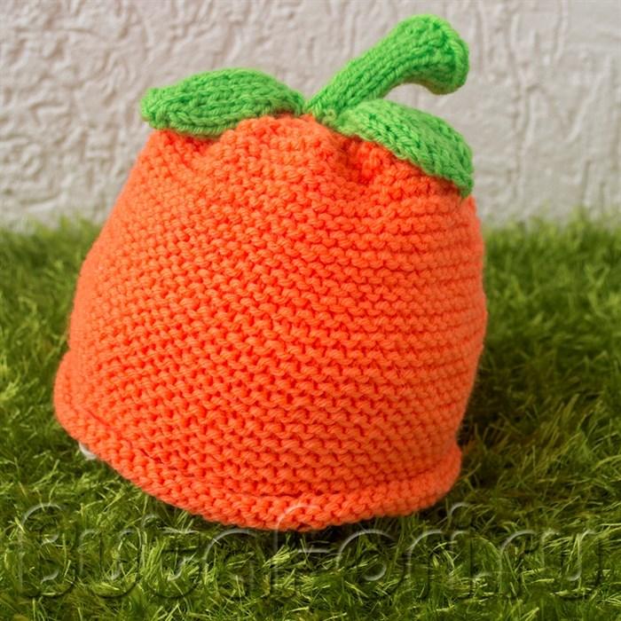 Вязаный реквизит для фотосессии новорожденного - шапочка Апельсин