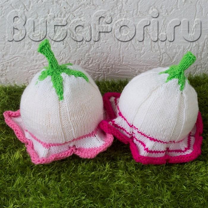 Вязаные шапочки для  новорожденных Лилии