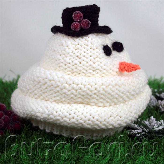 Шапочка Снеговик на больших малышей