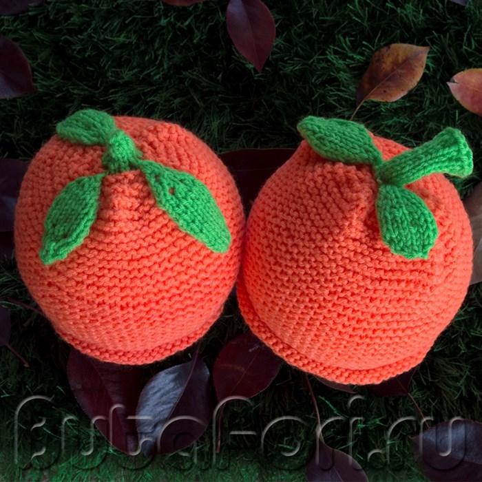 """Шапочки для фотосессии близнецов """"Апельсинчики"""""""