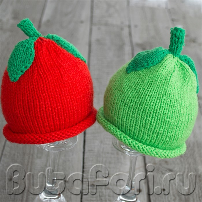 Вязаные шапочки - яблочки