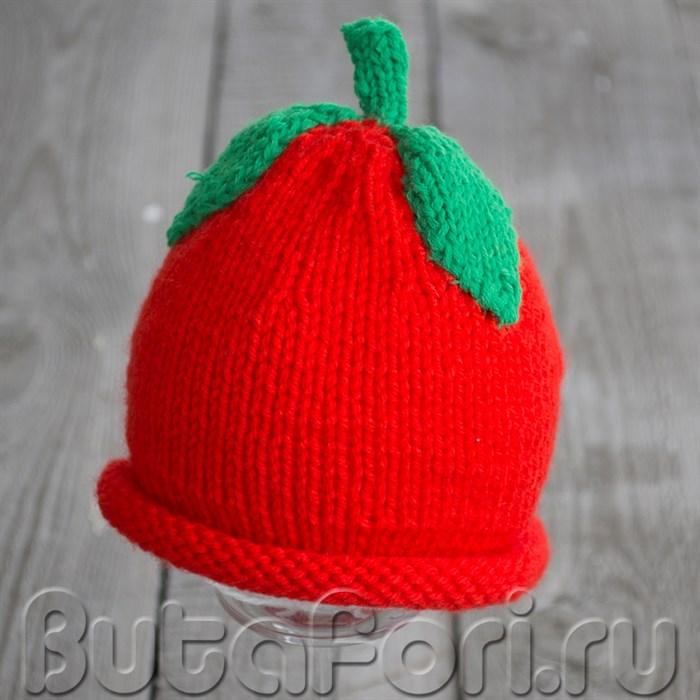 Шапочка для фотосессии новорожденных - красное яблоко