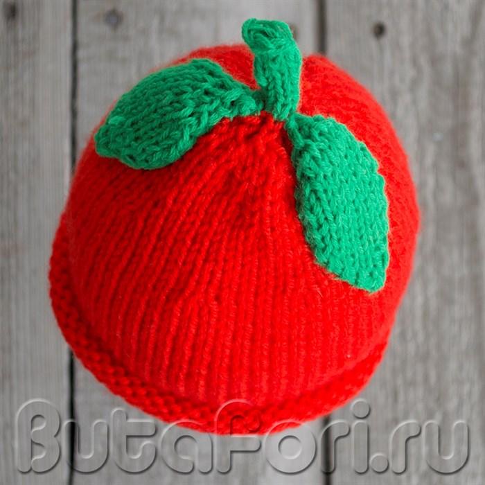 Вязаная шапочка для новорожденного - Красное яблочко