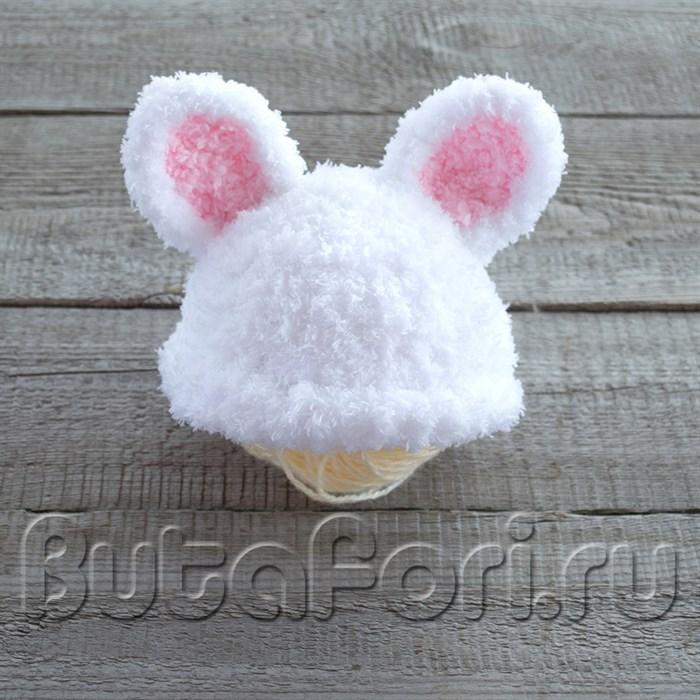 Шапочка для фотосессии новорожденных - Белый кролик
