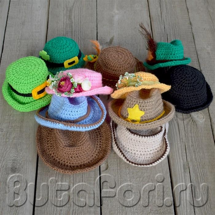 Аксессуары для фотосессии новорожденных - вязаные шляпы
