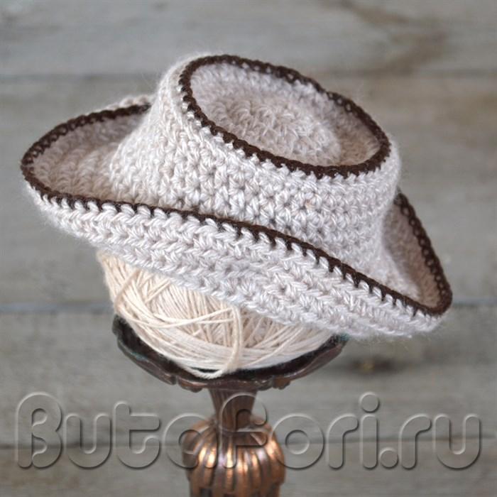 Вязаная шляпа с кантом для новорожденного