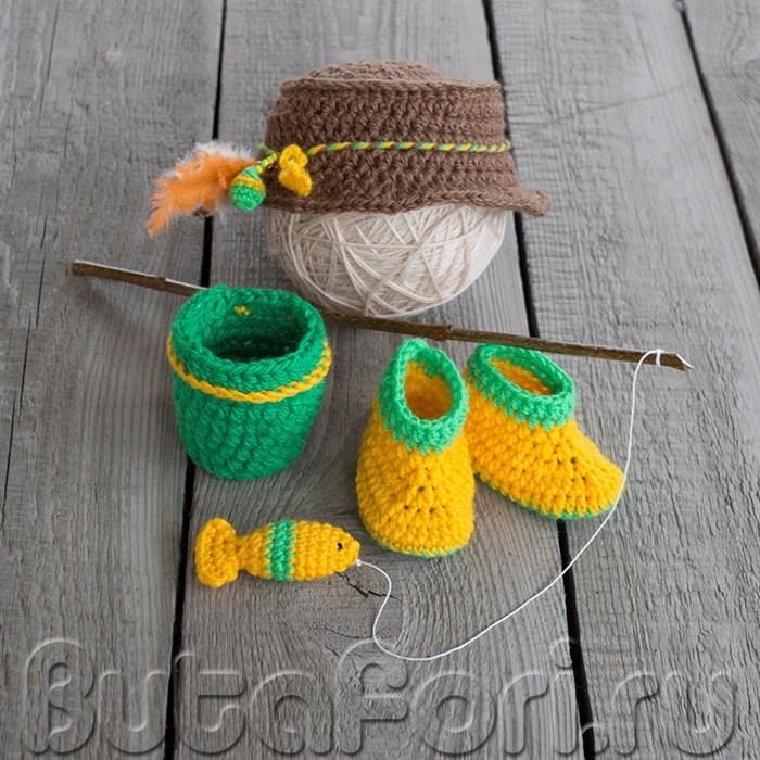 Комплект одежды для фотосессии новорожденного Рыбак