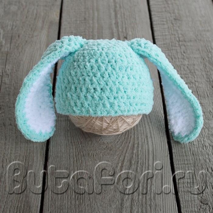 Вязаная шапочка Бирюзовый кролик
