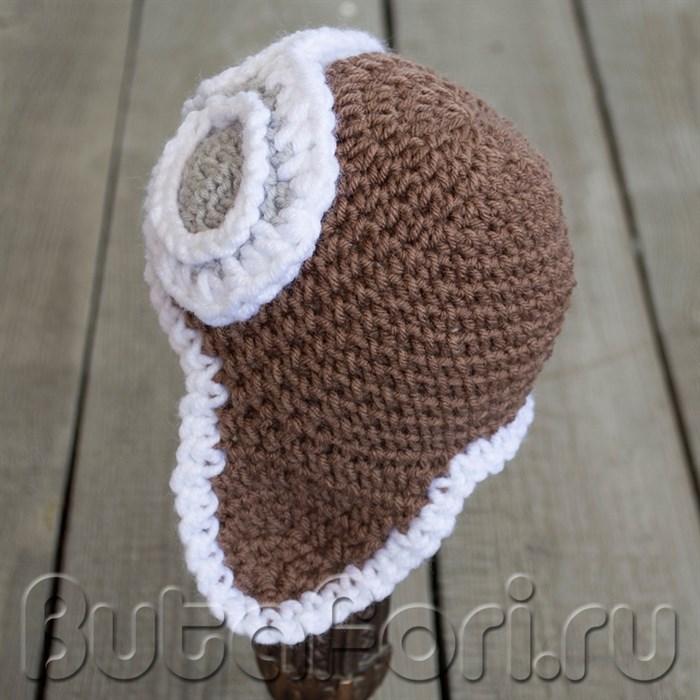 Одежда для фотосессии новорожденного - Вязаная шапочка летчика