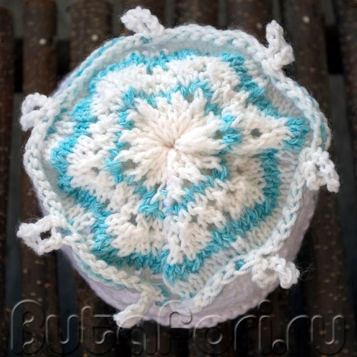 Вязаная шапочка для младенца - Снежинка