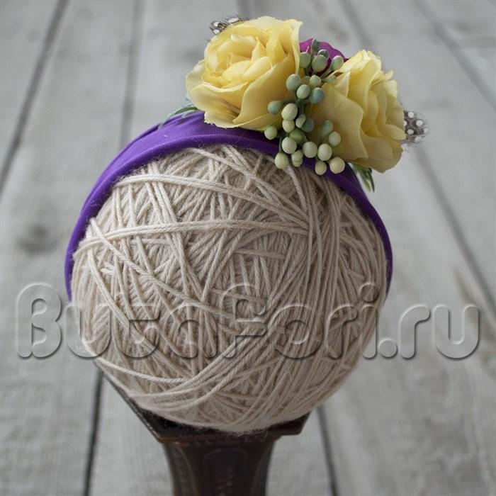 Цветочная повязка для новорожденной девочки - Перепелочка