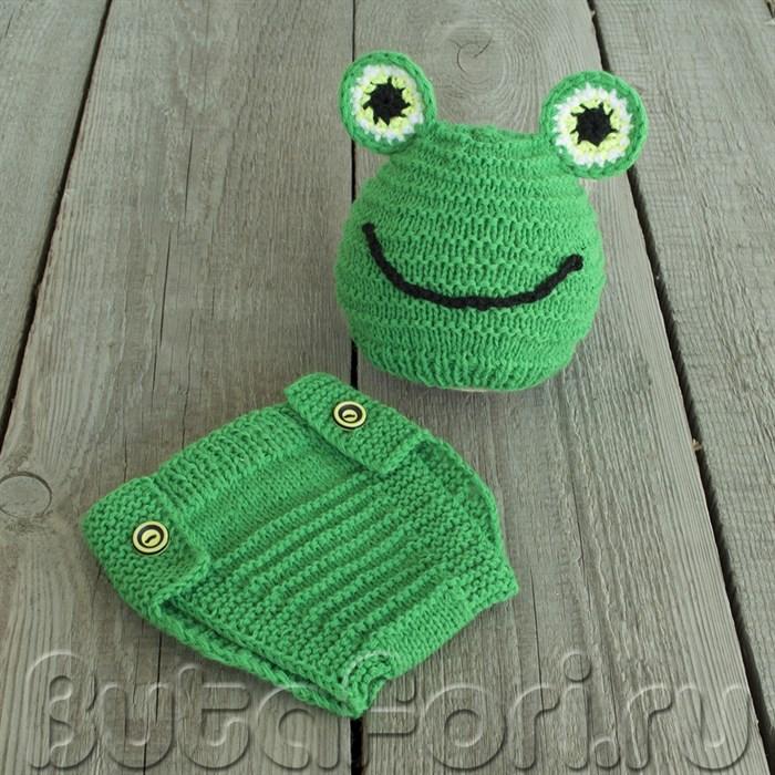 Костюмчик зеленого лягушонка для фотосессии новорожденного
