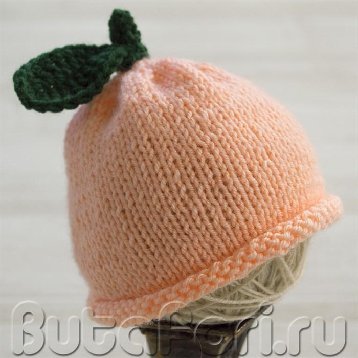 Вязаная шапочка для фотосессии новорожденных - Персик