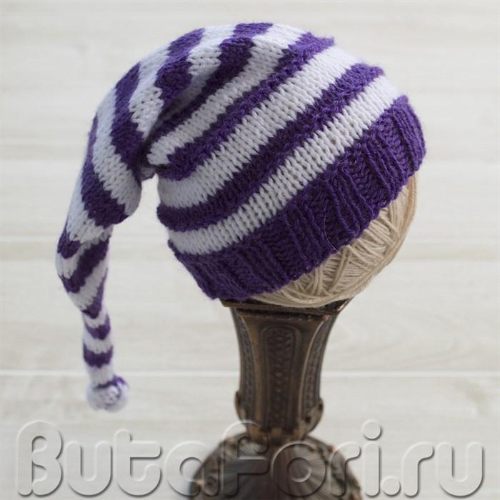 Фиолетово-белый колпачок для новорожденного