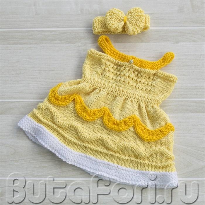 Вязаное платье для фотосессии новорожденного