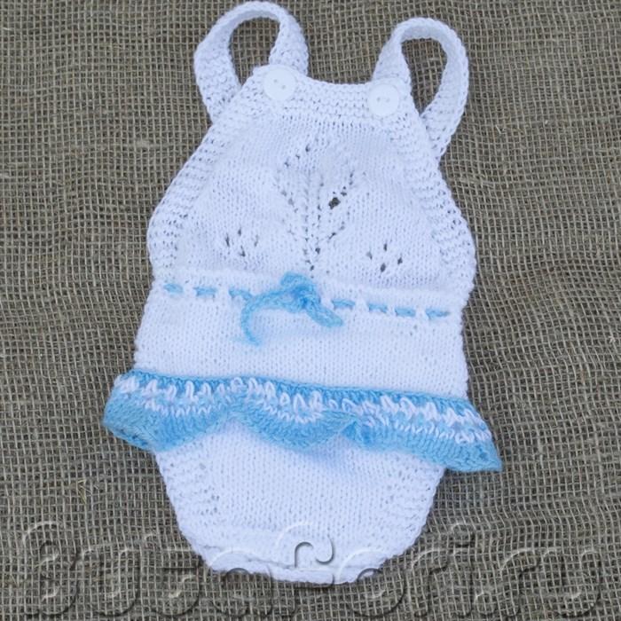 Бело-голубой комбинезон с юбочкой