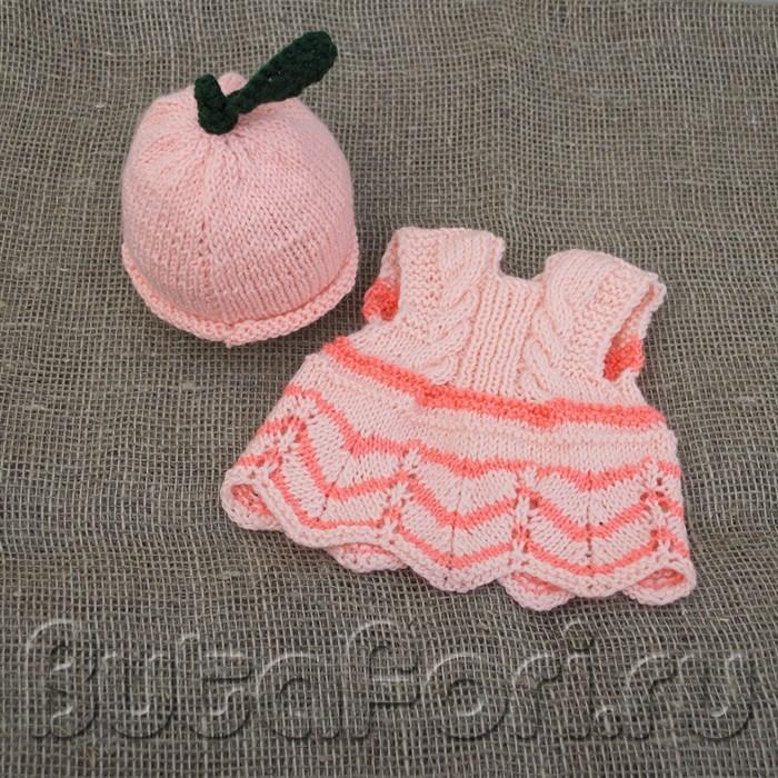 Вязаный костюмчик для newborn съемки Персик