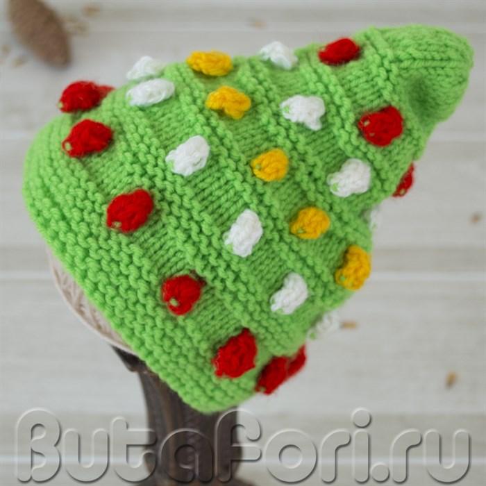 Вязаная шапочка-елка для фотосессии новорожденных