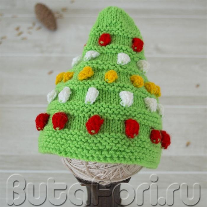 Аксессуар для новорожденного - шапочка елка