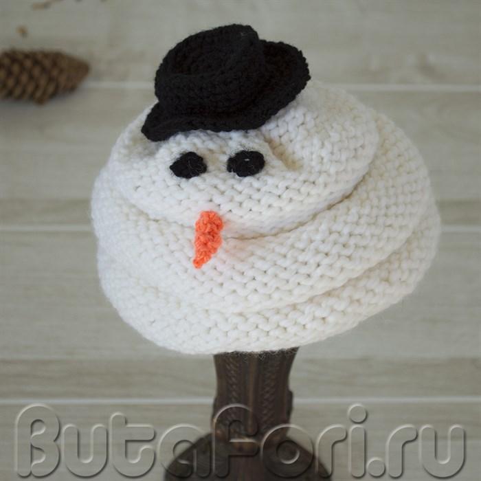 Вязаная шапочка снеговика для фотосессии новорожденных