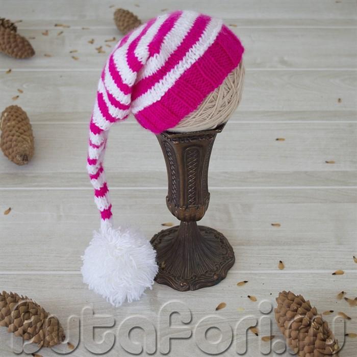 Бело-розовый колпачок для фотосессии новорожденного