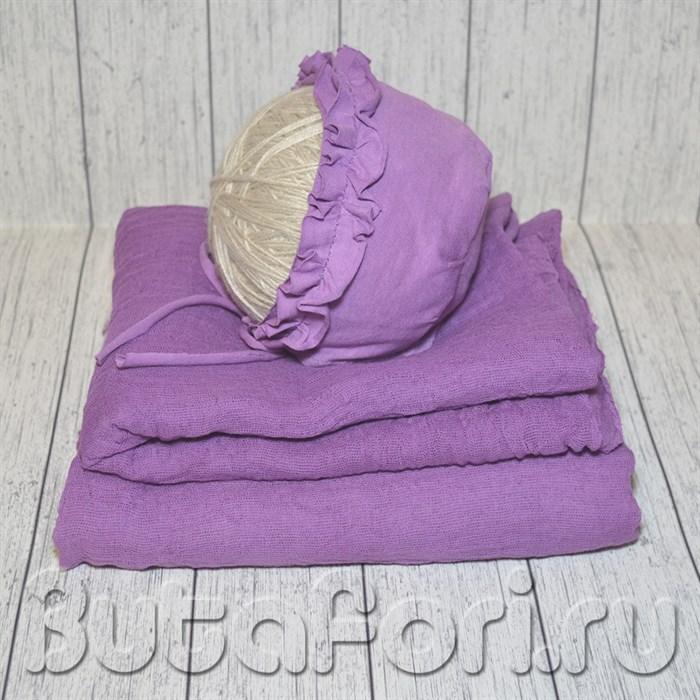 Сиреневая обмотка новорожденного + шапочка