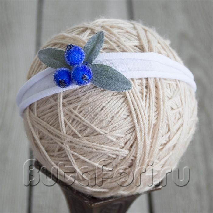 Повязочка на голову новорожденного - Голубика.