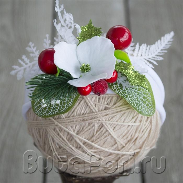Повязочка для новогодней фотосессии новорожденного - Зимние Ягоды