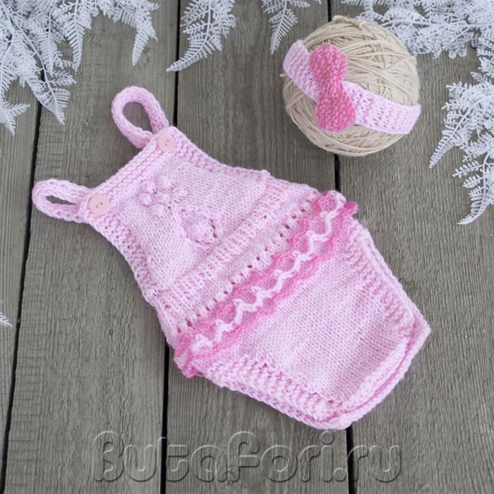 Вязаный костюмчик для фотосессии новорожденной девочки - Нюша