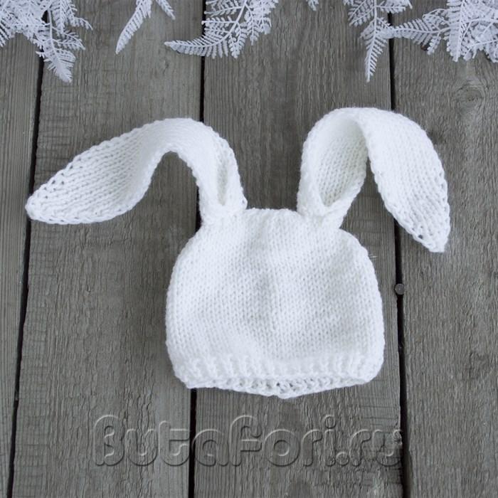 Вязаная шапочка Кролика для фотосессии новорожденного