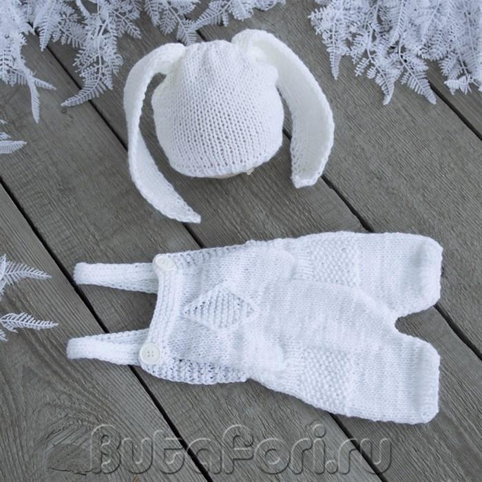 Ромпер и шапочка Зайчика для фотосессии новорожденных