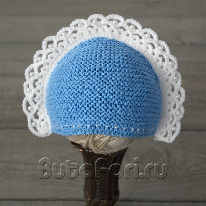 Голубой кокошник для фотосессии новорожденной