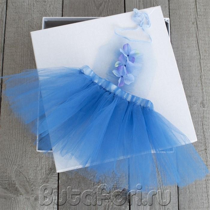 Синий сарафан из фатина для новорожденной