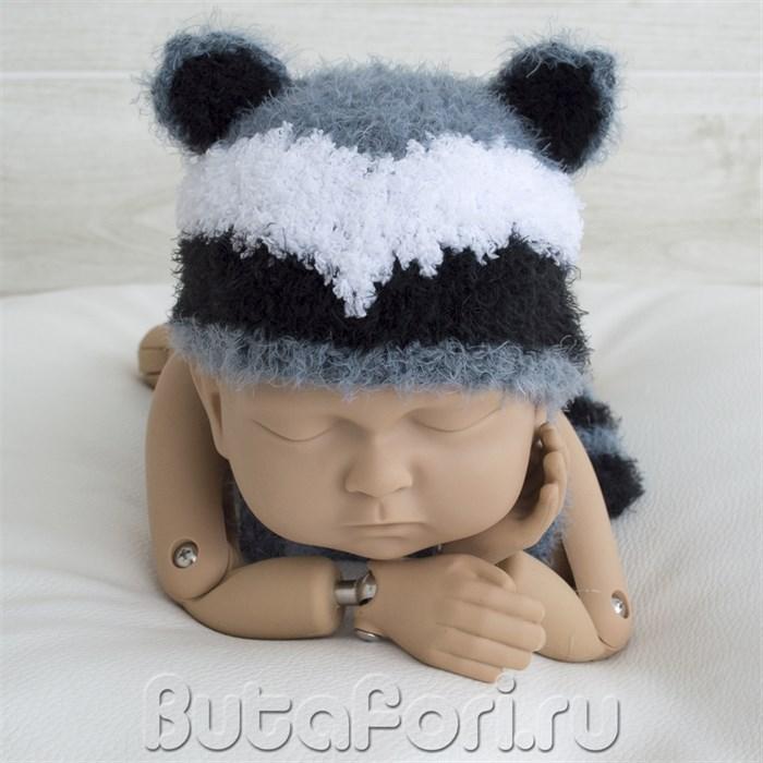 Вязаная шапочка Енота для фотосессии новорожденного