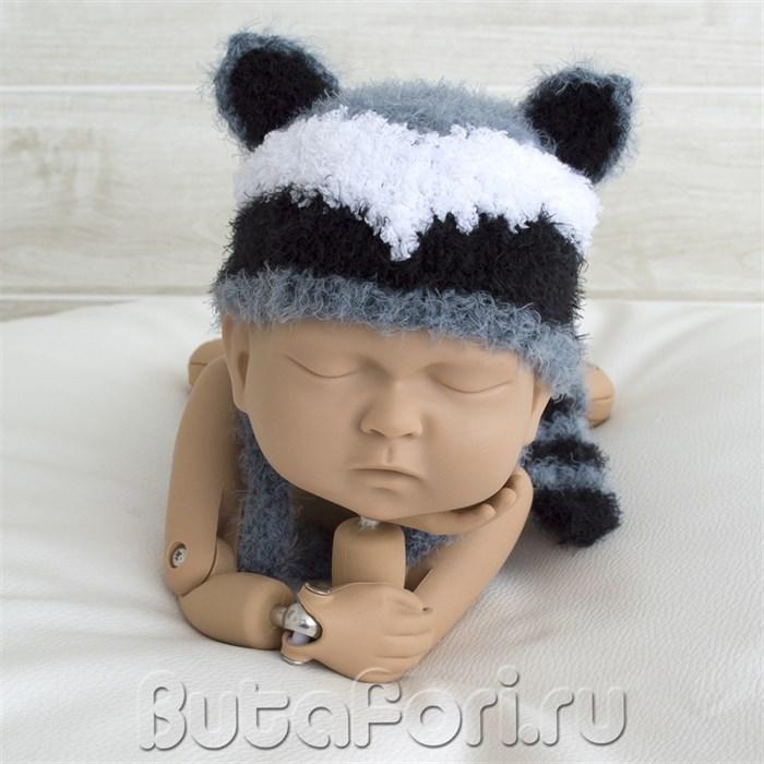 Шапочка Енота для новорожденного