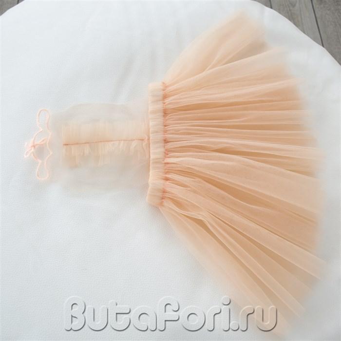 Персиковый сарафан для новорожденной девочки