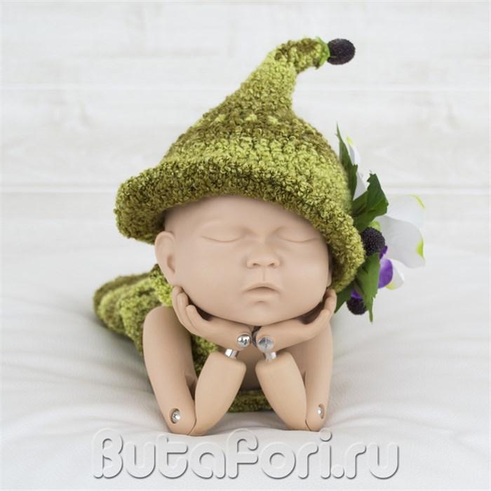 Вязаная шапочка лесного эльфа Ежевичка