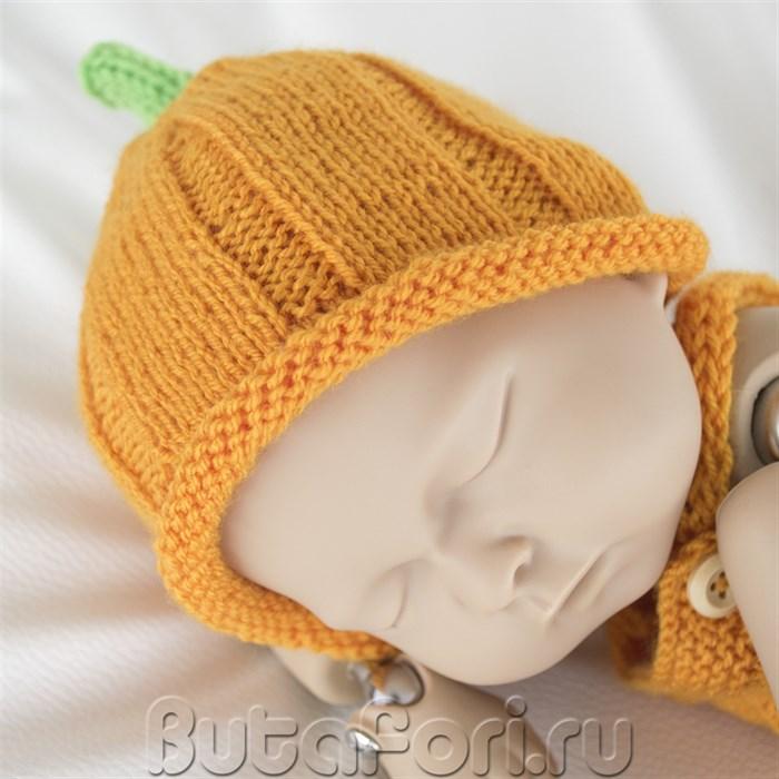Вязаная шапочка Тыковка для фотосессии новорожденного