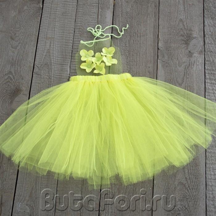 Желто-зеленый сарафан из фатина